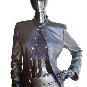 Anne Klein Black Leather cropped Jacket  Size 8